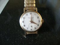MENS EXCALIBER 9CT SOLID GOLD 21 JEWEL WATCH (gold plated bracelet)