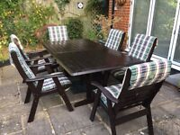 """Outdoor Dining Table by """"Clarecraft"""" + 6 Carver chairs (All Hardwood) & Covers"""