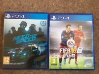 PS4 games - Need for Speed & FIFA16 - pre-owned
