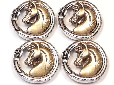 4 - 2 HOLE SLIDER BEADS HORSE HEAD STITCHED BUCKLE SILVER, BRASS METAL TACK BEAD