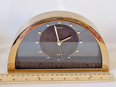 """Seiko Brass & Smoked Glass Mantel Clock Arc Shaped Quartz 6"""" H"""