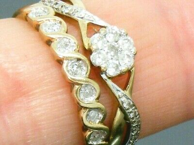 9ct Gold 0.35ct Diamond Bridal Set Hallmarked Rings Size N