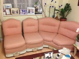 SOFA SET, LIGHT ORANGE MATERIAL
