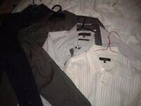 Mens bundle of 4 Medium, 16 R long sleeved shirts Next, Thomas Nash and short sleeved polo shirt
