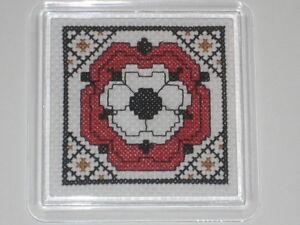 NEW ITA CROSS STITCH COASTER KIT - English Tudor Rose  #1