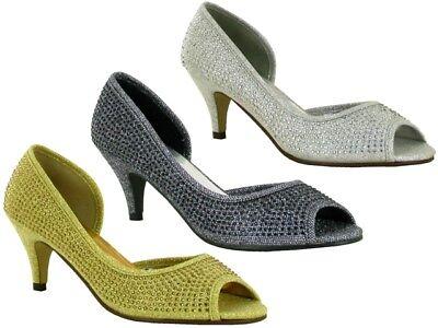 Ladies New Peep Toe Stiletto Stone Establishment Formal Party Shoes UK Size 3-9  Stiletto Peep Toe