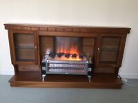Fire surround (wooden) and electric fire