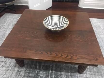 Coffee Table Dark Wood With Carved Legs
