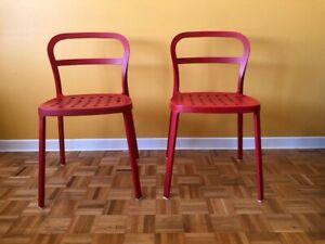2 chaises cuisine, intérieur/extérieur, rouge, aluminium, IKEA