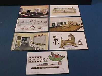 7 RAPHAEL TUCK & SONS QUEEN'S DOLL HOUSE SERIES V POSTCARDS
