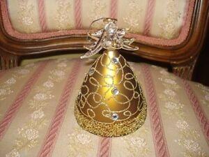 ornement pour sapin de noel ange en verre doré 6 po. de long