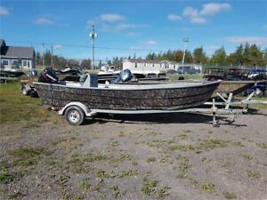 Camo Fiber Glass Boat 30hp & trailer