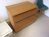 Ikea Malm Chest of Drawers 1 x 3 Drawers