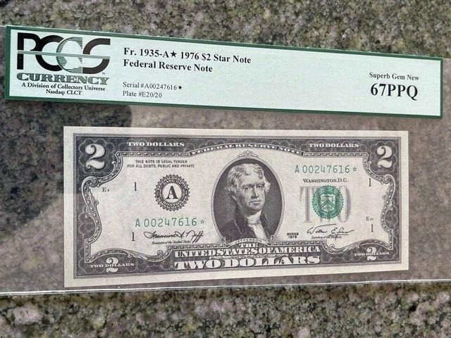 1976 2 FED RESERVE STAR NOTE A00247616 PCGS SUPERB GEM NEW 67 PPQ - $46.90