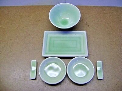 Nice Sushi Serving Set For Two 6 Piece Japanese Green Crackle Glass