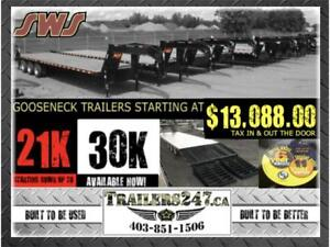GOOSENECK TRAILERS STARTING AT $13,088.00 TAX IN & OUT THE DOOR