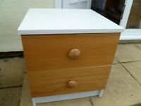 (We are in Bristol and not Gloucestershire) Small Brown and white bedside cabinet with two drawers