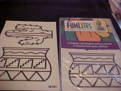 2 Ready to Color Cling To Any Window Southwestern Designs Pot Cactus