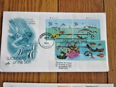 WONDERS OF THE SEA FISH CORAL SCUBA DIVER COMPLETE SET 4 STAMPS 2 1994 FDCS ()