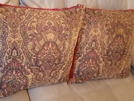 2 x large size red and gold cushion 55 cm x 55 cm