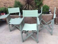 3 Vintage Director Chairs with Side Tables. Collect from Fulham