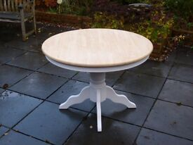Shabby chic circular table - white base with wooden top.