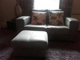 Sofa (leather) and footstool