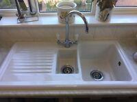 1 1/2 bowl white enamel sink with mono block tap-£20 ONO