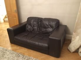 TWO large 2 seater chocolate brown sofas