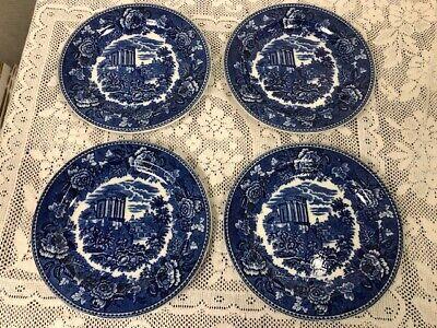 Wedgwood Landscape Dark Pattern Blue & White ~ 4 Salad Plates ~ 8 1/4