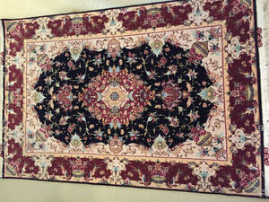 Silk base and silk flowers, hand-knotted Persian rug