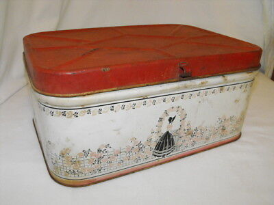 VINTAGE 1940's RETRO Southern Belle Lady w/ Roses METAL BREAD BOX  w/ Red Lid