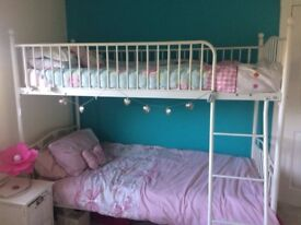 White Bunk Beds with Love Heart Design