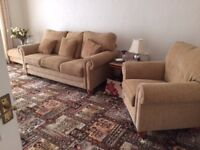 Settee,Chair & Large Upholstered Footstool