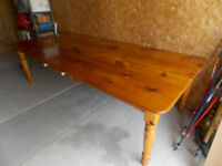 4ft X 9ft harvest table and upcycled hall bench