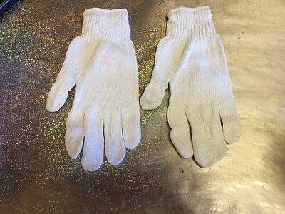5 Pair Knit Poly Cotton Work Gloves Pairs White Grey Large L