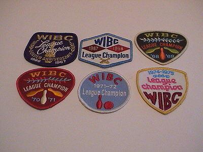 Lot /6 Wibc Womens Bowling League Champion 1966-75 Tournament Award Patches