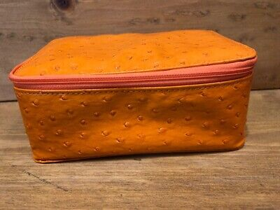 NWOT! GENUINE ROWALLAN OF SCOTLAND ORANGE BONDED LEATHER TRAVEL JEWELRY BOX