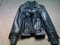 Size L New! Fringed/Lined Women's Taurus Belted Leather Jacket