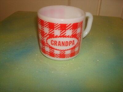 White Milk Glass Red Checkered Gingham  Grandpa Coffee Cup Mug