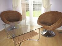 Genuine Wicker Rattan Egg Style 2 Swivel Chairs + Matching Table, Excellent Condition