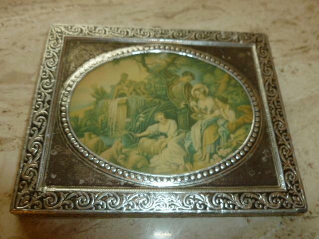 "Vintage Miniature 4.5"" Embossed Silver Tone Metal Framed Victorian Garden Print"