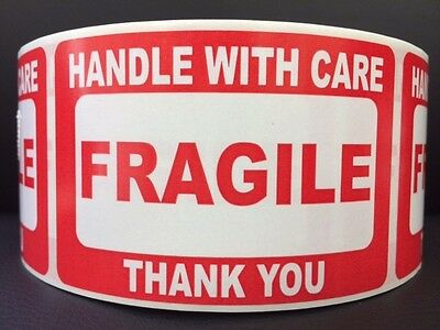 100 2x3 Fragile Stickers Handle With Care Plus 15 White Thank You Stickers Ship