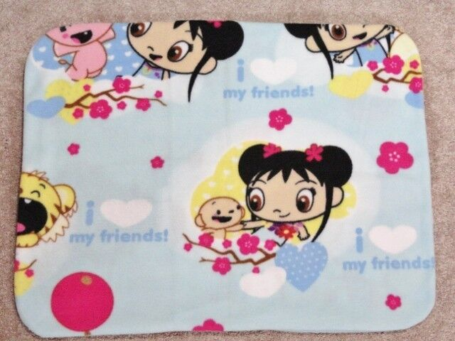 FLEECE STANDARD (TWIN) PILLOW COVER - I LOVE MY FRIENDS AND CHERRY BLOSSOMS