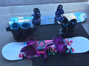 NEW BOYS AND GIRLS SNOWBOARDS AND BOOTS