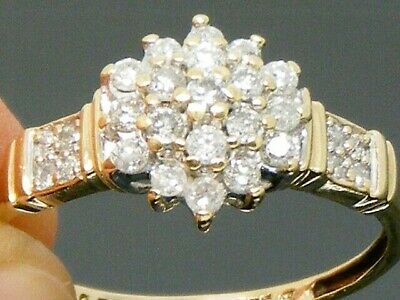 9ct Gold  0.50ct Diamond Cluster Engagement ring size P