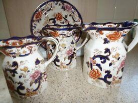 Mason Mandaly Ironstone jugs and plate