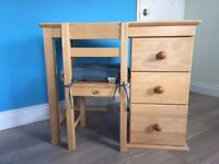 John Lewis Solid Wood Child's Desk with Matching Chair *Excellent Condition