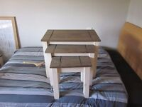 Pine tables, tv stand and back board !!BRAND NEW CONDITION!!!