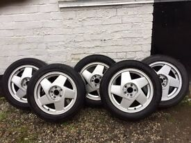 "Rare Genuine OEM Volvo 240, 740, 940, 960 16"" Hydra Alloy Wheels & Caps in Excellent Condition"